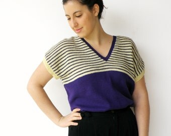 Vintage Sweater Top /  Indigo and Maize Striped Loose Sweater / Size L