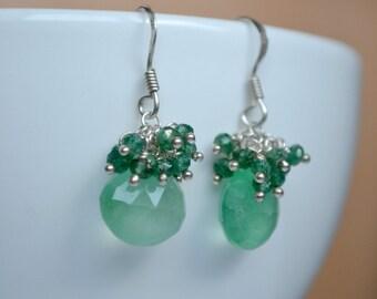 SALE Green aventurine earrings, dangle earrings, handmade wirewrapped jewelry, green cluster earrings