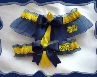 Navy Organza Ribbon Wedding Garter Set Made w Michigan Wolverines Fabric