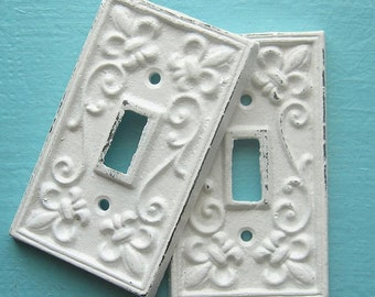 switchplate / light switch cover / fleur de lis / cast iron / white / shabby chic / cottage chic/ Rustic