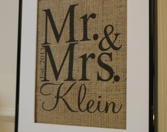 Free US Shipping...Personalized Wedding Burlap Print...Great for engagement, wedding, anniversary, etc.