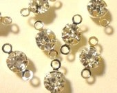 35pcs - Clear Rhinestone - 2 loop link - connectors - 10x5mm - bright silver plated setting -
