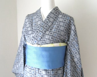 Vintage KIMONO casual cotton cubic dot motif grey blue size M-L ready to ship