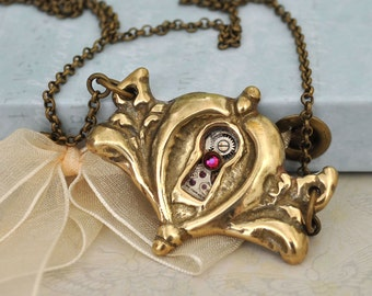 DOOR To The SECRET GARDEN steampunk antiqued brass necklace with real vintage brass keyhole frame