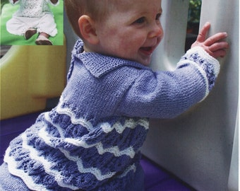 BABY KNITTING PATTERN - Sweater, Pants and Hat - 3 sizes Premature, 0-3 mos, 6-9 mos and 12-18 months