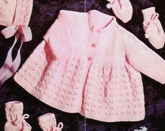 Baby Knitting Pattern - Jacket/Sweater, Bonnet, Mitts and Booties/Bootees PDF Download