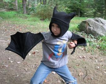 Black Bat Wings & Hat set for Children