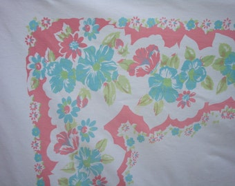 Vintage 1940s Tablecloth w Aqua Hibiscus and Pink Borders Gorgeous Tropical Cottage Treasure