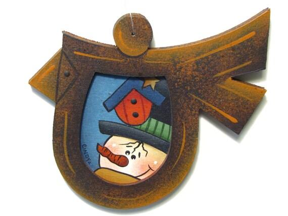 Bird Frame Ornament with Snowman, Birdhouse, Handpainted Wood