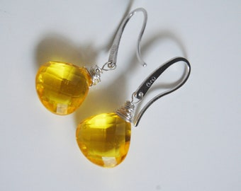 Gemstone Yellow Quartz Dangle Drop sterling silver  Earrings
