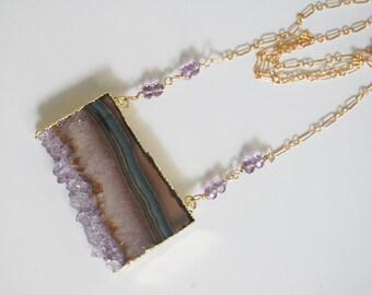 Gemstone Amethys Necklac-Amethyst Slices 24k gold edge double bail necklace - Handmade Druzy amethyst slice drusy pendant - Exclusive desig