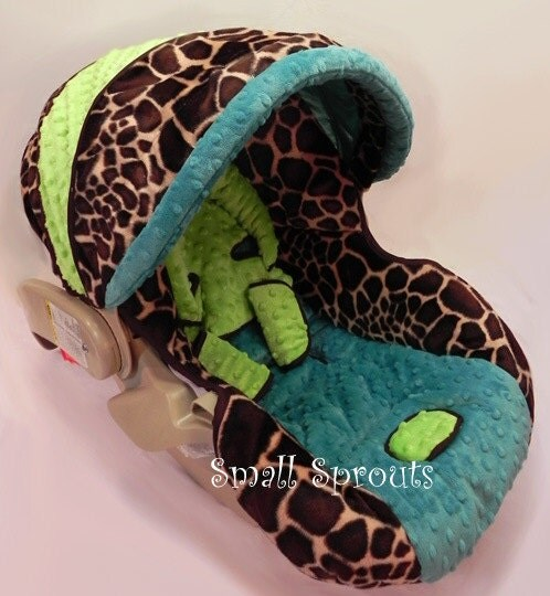 Giraffe Faux Fur With Turquoise Amp Lime Green Minky Orbit