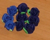 Blue and Navy Polymer Clay Rose Flower Beads 10mm