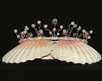 Pink and white faux pearl and crystal tiara for bride, bridesmaid, prom