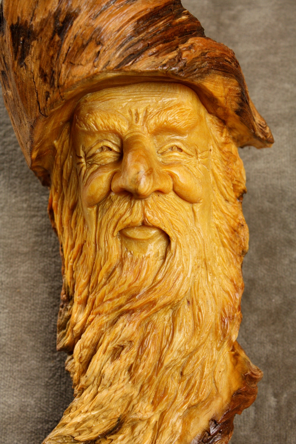 Wood carving spirit gnome elf wizard valentines day gift