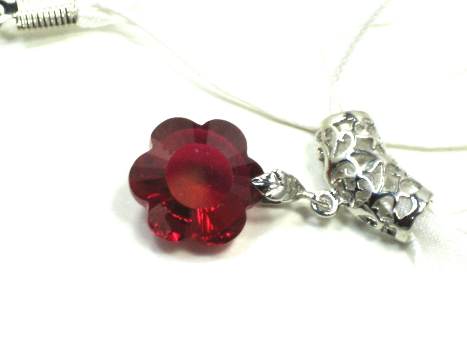pink topaz gemstone flower fancy cut pendant by