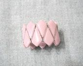 Vintage Western Germany Pink and Goldtone Resin Cuff Adjustable Bracelet