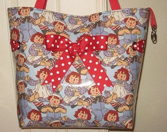 Large Raggedy Ann Tote with Red Dot