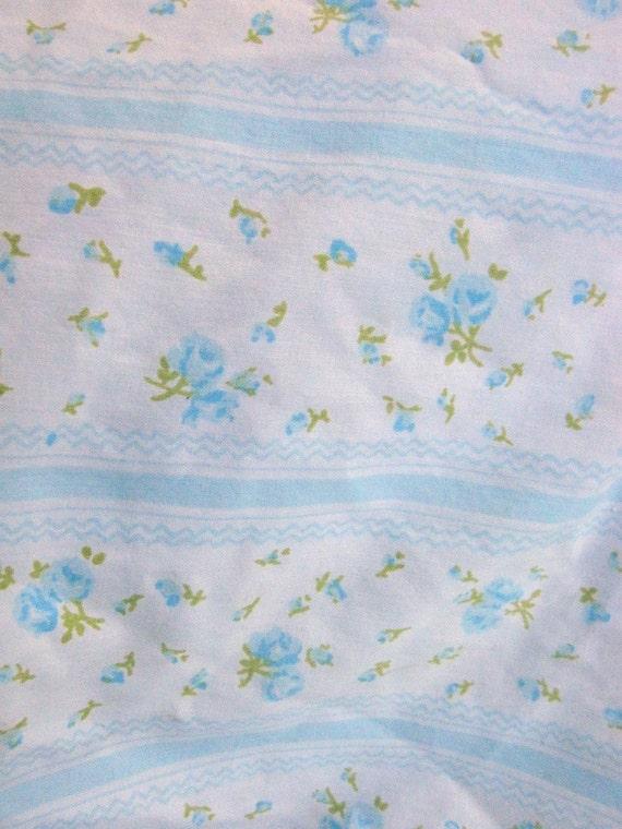 Light Blue White Floral Fabric - Full Size Flat Sheet - 10 yards