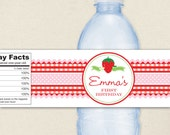 Strawberry Party - 100% waterproof personalized water bottle labels