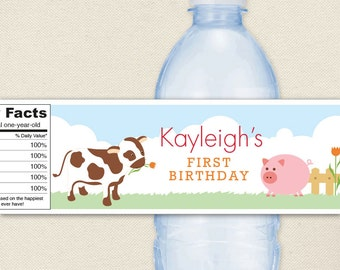 Barnyard Animals Party - 100% waterproof personalized water bottle labels - Set of 15