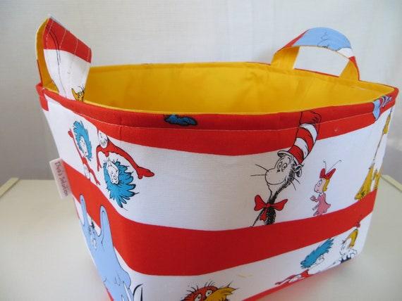 "Fabric Organizer Storage Bin Container Basket  XLarge ""Dr Seuss"" 10 x 10 x 7"