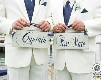 Captain & First Mate with Happily Married on the back, Rustic Wedding Chair Signs. LGBT Wedding, Vintage, 2-sided, Nautical Wedding Signs.