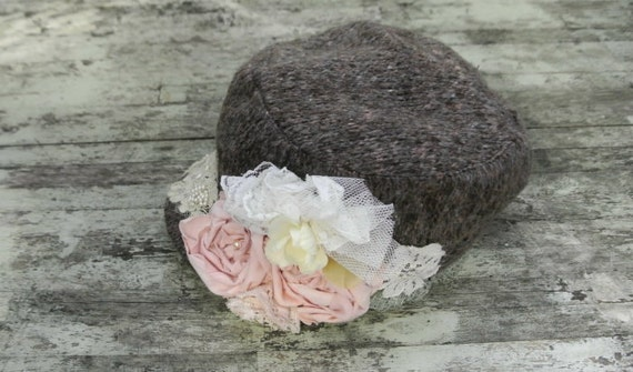 Shabby hat, Cottage chic cap, military cadet hat, rose embellished fall hat, womens accessories, true rebel clothing,