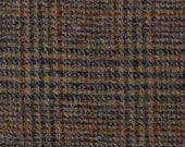 "5154  -  Felted 100 Percent Woven Wool - Plaid  2 Long Pcs 17x6.75 & 21x6""- Semi-Dark Tone - Brown and Black Dominant - Rug Hooking"
