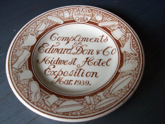 Edward Don Souvenir Plate Midwest Hotel Exposition 1939 Jackson China