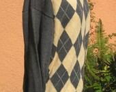 Vtg 80s Brooks Brothers Peach Gray Argyle Mock Turtleneck Sweater