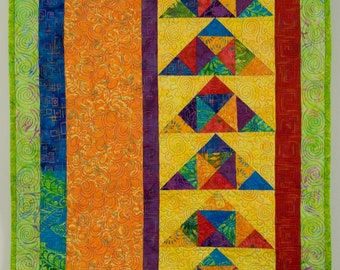 Bright Quilted Wall Hanging - Wild Geese in Flight
