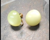 Vintage Light Green Moonglow Thermoset Earrings