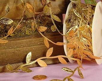 Gold Leaves Twig Cord Leaf Ribbon