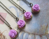 Bridesmaids Gift Set Round Locket with Lilac Rose Keepsake Locket Set of Four (4) necklaces Vintage Wedding, Flower Girls