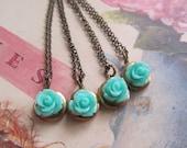 Bridesmaids Gift Set Round Locket with Aqua Rose Keepsake Locket Set of Four (4) necklaces Vintage Wedding, Flower Girls