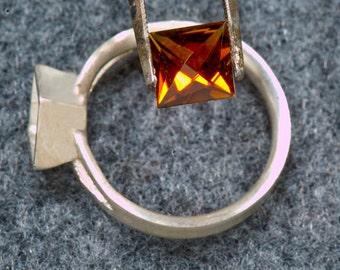 Golden Tourmaline Fireworks Cut Argentium Ring, Tourmaline Ring, Birthstone Ring, Statement Ring, Gemstone Ring