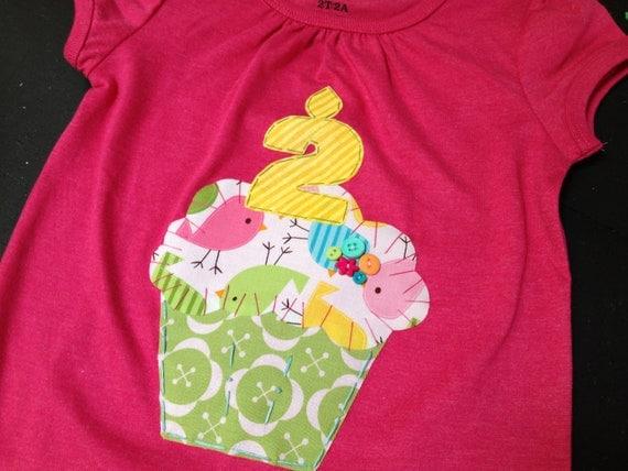 hot pink bird cupcake birthday shirt, bird cupcake, birthday shirt, 2nd, birthday shirt