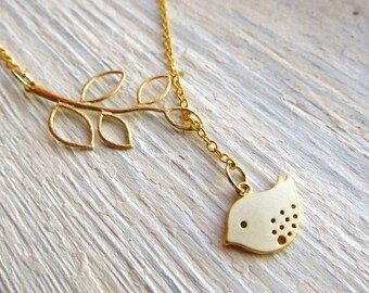 Gold Bird Necklace, Bird and Branch Necklace, Lariat Necklace, Gold Lariat, Gold Branch Necklace, Branch Jewelry, Branch Lariat Necklace
