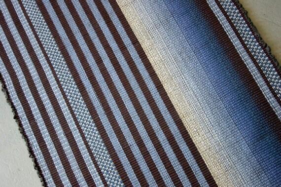 Brown and Blue Cotton Rag Rug 3' x 5' / Handwoven Rag Rug