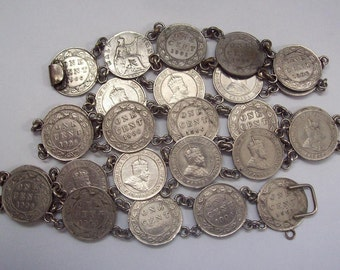 1910s Real Coin Belt Silvertone with Canadian Edwardian Coins