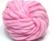 Handspun beyond super bulky pink alpaca and merino yarn, thick and thin - 41 yards, 2.8 ounces, 79 grams