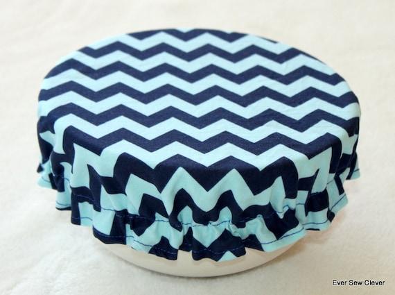 Reusable Bowl Covers BPA Free Eco-Friendly Washable  - 6 Inch Riley Blake Chevron Blue