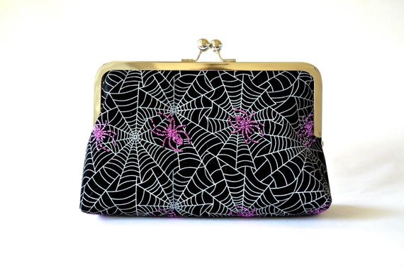 items similar to sparkly spiders clutch black bag purse halloween accessories goth handbag velvet clutch on etsy - Halloween Handbag