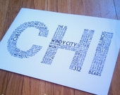 CHI Print - 11 x 17 White and Black Poster (Chicago IL)