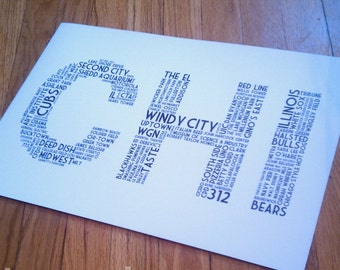 CHI Print - 11 x 17 White and Black Poster (Chicago IL)