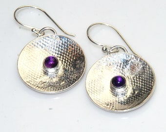 Purple Amethyst Earrings - Sterling Silver Circles - February Birthstone - Metalwork, Lace pattern