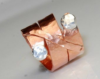 Mixed Metal Ring - Size 6 - Copper and Sterling Silver - Twist Ring - Unique Jewelry