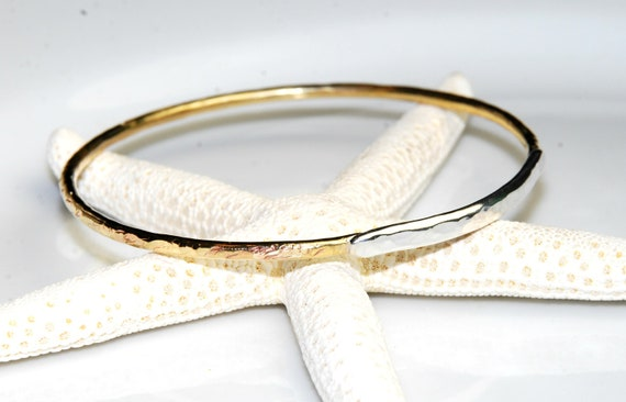Mixed Metal Stacking Bangle Bracelet- Sterling Silver and Brass- Size Large