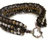 Metal BEADED Cuff Bracelet, Copper Silver, Brown, Gold, NATURAL TRIO, Hand Knit Wearable Fiber Art, Reversible, Sereba  Designs on Etsy - SerebaDesigns